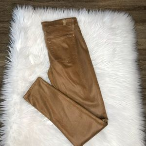 7 for All Mankind Faux Leather Brown Pants 28